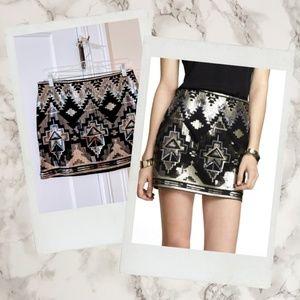 Express ▪ Metallic Aztec Sequin Mini Skirt